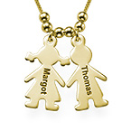 Gold Mother's Necklace with Engraved Children Charms
