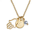 Hamsa Charm on Initial Necklace