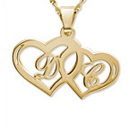 14k Yellow Gold Couples Hearts pendant