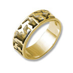 Hebrew 14k Gold, Light Comfort Fit Ring