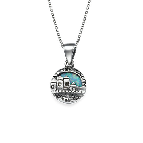 Small Jerusalem Disc Necklace in Silver with Opal