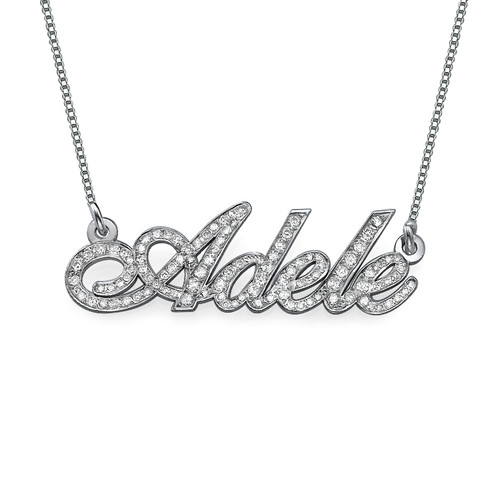 14k White Gold Name Necklace with Diamonds IsraelBlessing