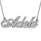 14k White Gold Name Necklace with Diamonds