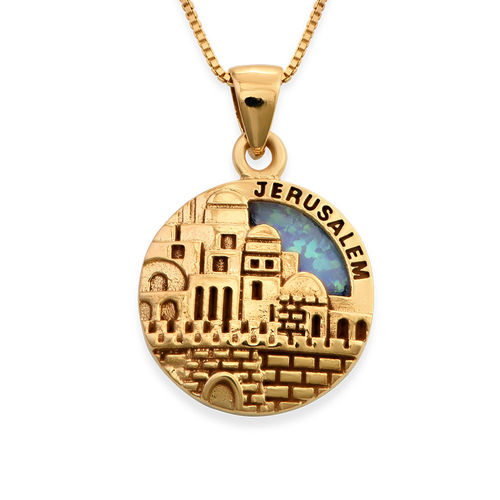 18K Gold Plated Big Jerusalem Disc Necklace with Opal