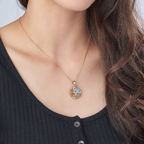 18K Gold Plated Big Jerusalem Disc Necklace with Opal - 2