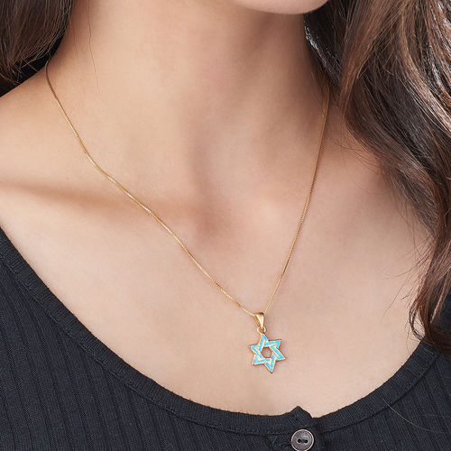 18K Gold Plated Intertwined Star of David Necklace - 2