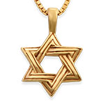 18K Gold Plated Star of David Necklace for Men