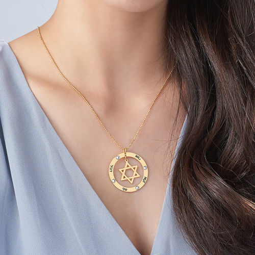 18K Gold Plated Star of David Necklace with Birthstones - 2