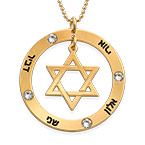 18K Gold Plated Star of David Necklace with Birthstones