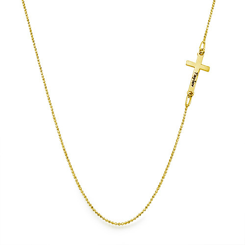 18k Gold Plated Silver Engraved Side Cross Necklace - 1