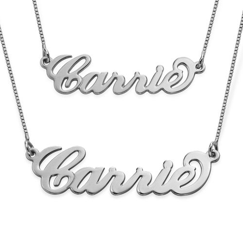 Carrie Style Silver Name Necklace - 1