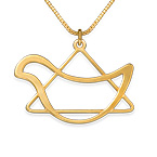 Cut out Star of David Dove Necklace with Gold Plating
