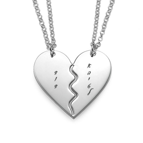 Engraved Silver Breakable Heart Necklace - Hebrew
