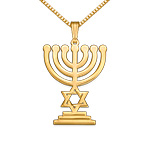 Gold Plated Menorah Necklace with Star of David