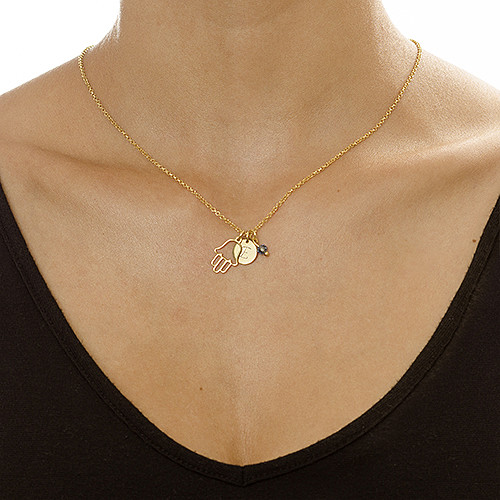 Hamsa Charm on Initial Necklace - 1
