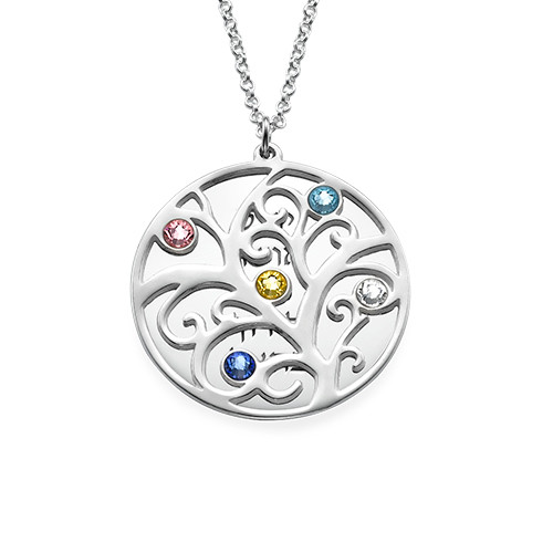 Hebrew Filigree Family Tree Birthstone Necklace - 1