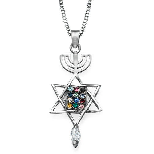 Messianic Seal Necklace in Silver with the High Priest Stones