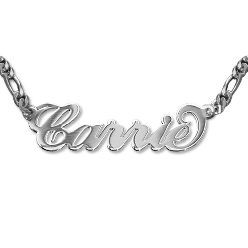 Silver Carrie Name Necklace - Extra Thick