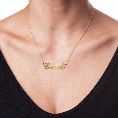 "Small 14K Gold ""Carrie"" Style Name Necklace - 1"