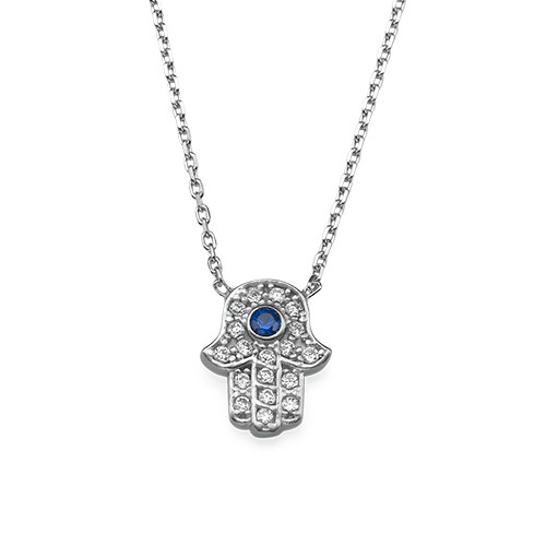 Small Hamsa Evil Eye Necklace with Cubic Zirconia