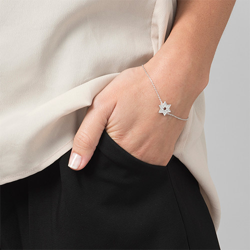 Star of David Bracelet with Cubic Zirconia - 1