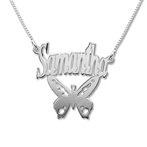1810784fa Sterling Silver Personalized Butterfly Name Necklace | IsraelBlessing