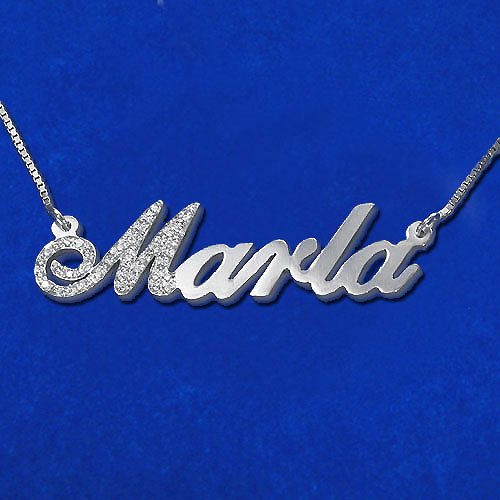 diamond capitalized letter 14k white gold name necklace. Black Bedroom Furniture Sets. Home Design Ideas