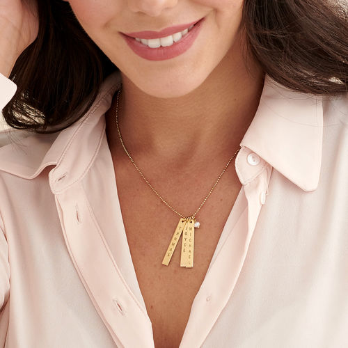 Engraved Vertical Bar Necklace with 18K Gold Plating - 2