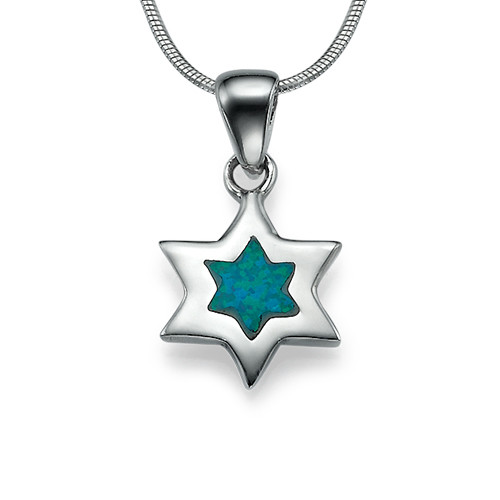 The Star of David Necklace in Silver and Blue Opal